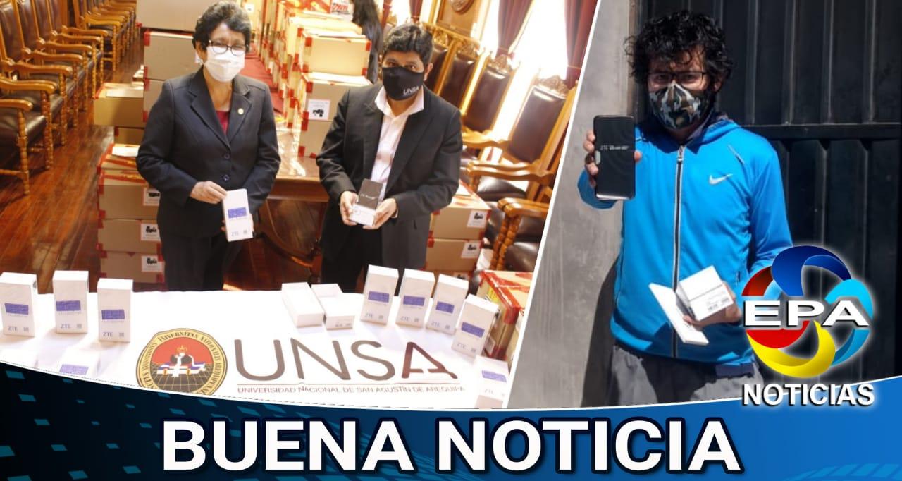 Arequipa. Estudiantes de bajos recursos son beneficiados con los celulares.